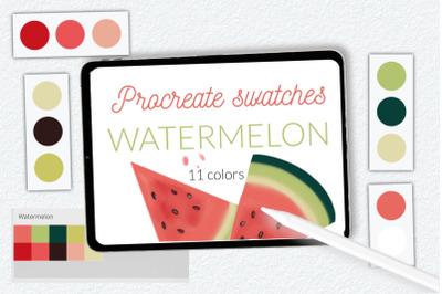 Watermelon color swathes for Procreate