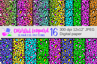 Colorful Leopard Seamless Patterns / Digital papers