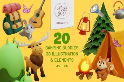 Camping Buddies 3D Illustration & Elements