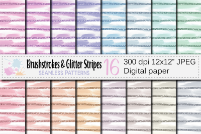 Pastel Brush Strokes and Glitter Stripes Seamless Patterns