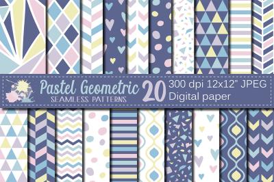 Pastel Geometric Seamless Patterns / Digital Paper