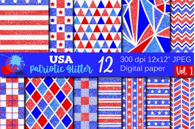 USA Patriotic Glitter Patterns / 4th of July Digital Paper
