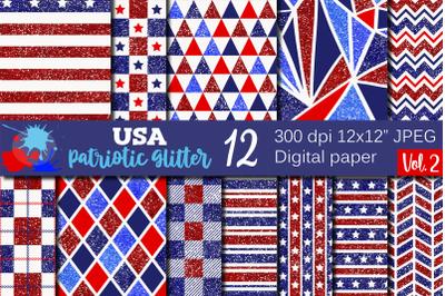4th of July USA Patriotic Glitter Patterns / Digital paper