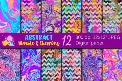 Abstract Marble and Chevrons Digital paper / Backgrounds