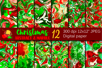 Christmas Marble Abstract Digital Paper / Backgrounds