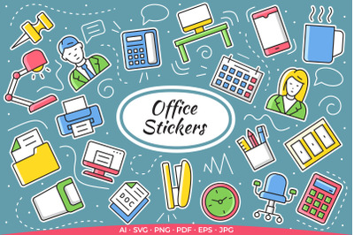 20 Office Stickers / Print and Cut Set