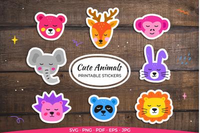 Cute Animals Faces Printable Stickers / Cricut Design