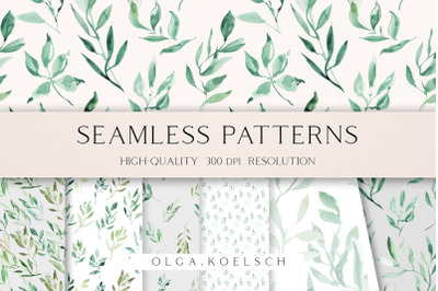 Greenery seamless pattern for fabric, Watercolor natural seamless