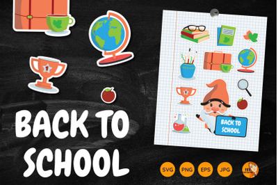 Cartoon Gnome and School stickers