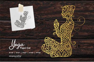 Yoga #1 Paper Cut, Vector illustration.