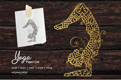 Yoga #3 Paper Cut, Vector illustration.
