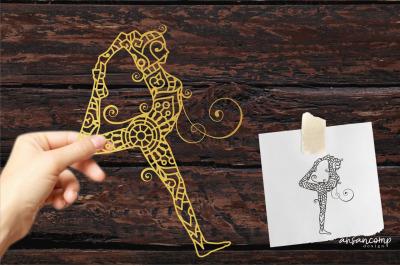 Yoga #4 Paper Cut, Vector illustration.