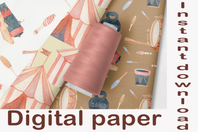 Decorative paper Vintage circus tent, Watercolor digital pattern clipa