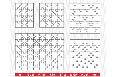 SVG Five White Puzzles, Jigsaw, Separate Piece, Digital clipart