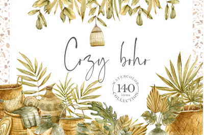 Watercolor boho clipart collection. Floral wreaths, frames