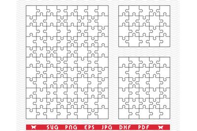 SVG Three White Puzzles, Separate Piece, Digital clipart