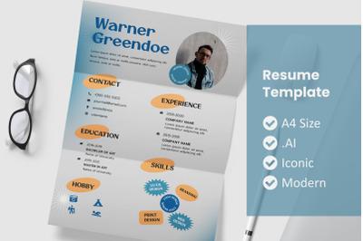 Old Retro Resume Template