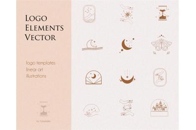 Logo elements, logo templates, mystical set, moon stars sun, branding