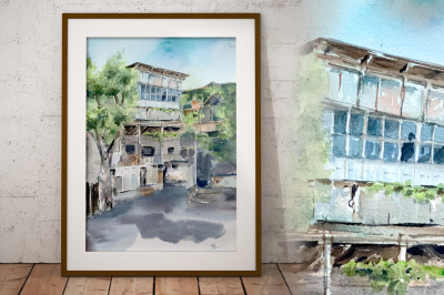 Old Tbilisi Watercolor Print
