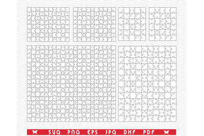 SVG White Puzzles, Jigsaw, Separate Piece, Digital clipart