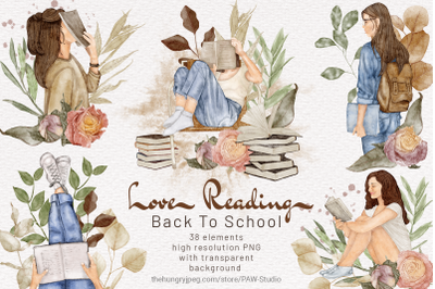 Back To School Autumn Clipart Girl Reading Book