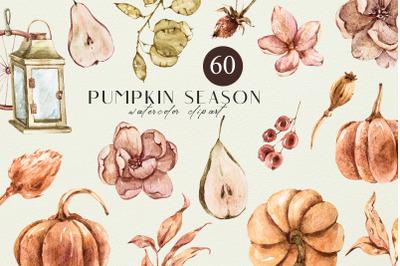 Floral fall clipart, pumpkin illustrations- 60 png files