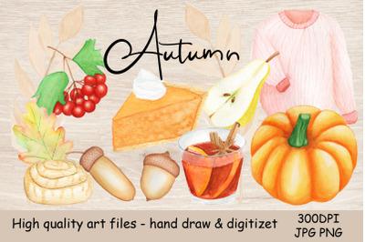 Watercolor Autumn. Illustration pumpkin, mulled win, harvest