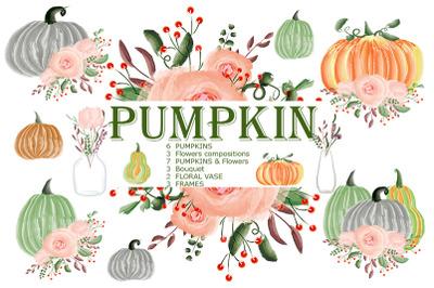 Pumpkin. Flower. Pumpkins set. Frame. Fall. PNG/JPG.