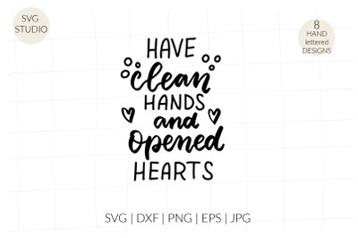 Have clean hands and opened hearts svg