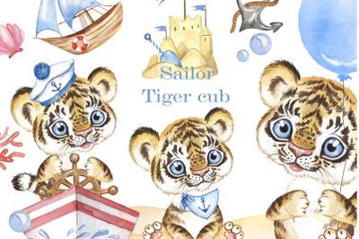 Sailor Tiger cub watercolor clipart, marine clipart. Baby Boy.