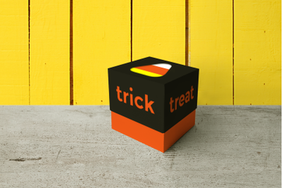 Halloween Candy Corn Trick or Treat Cube Box | SVG | PNG | DXF | EPS