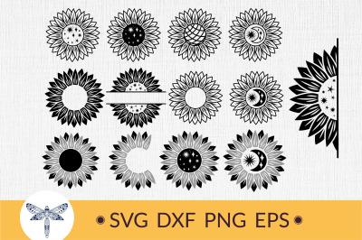 Sunflower svg Bundle, half sunflower svg, sunflower monogram svg