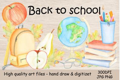 Watercolor Clipart Back to School.Autumn Illustration sub