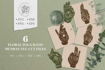 Floral Yoga Hand Mudras SVG Cut Files
