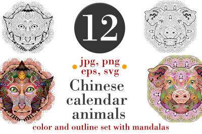 Chinese calendar animals with mandalas