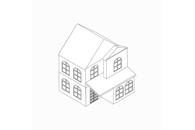 Two-storied detached house icon