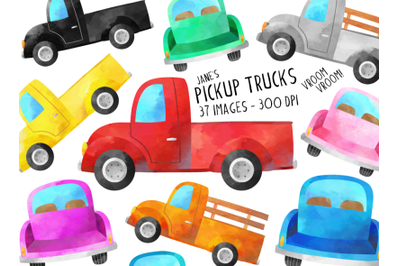 Watercolor Trucks Clipart