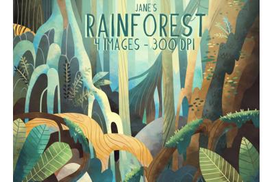 Watercolor Rainforest Clipart