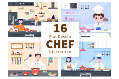 16 Chef Is Cooking In The Kitchen Background