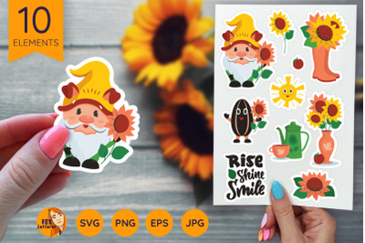 Sunflower and gnome stickers