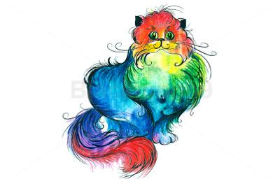 Rainbow Watercolor Cat