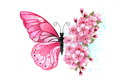 Flower Butterfly with Pink Sakura