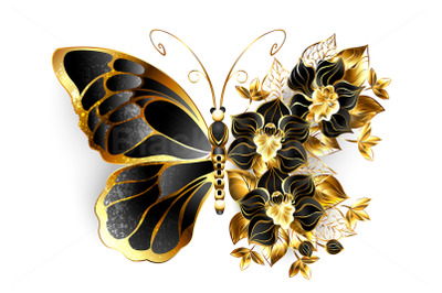 Gold Flower Butterfly with Black Orchid