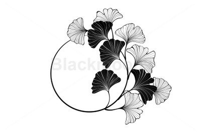 Round Banner with Silhouette Leaves Ginkgo Biloba