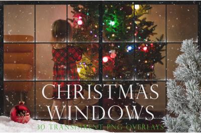 Christmas window pane overlays