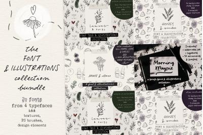 Font and illustration collection bundle