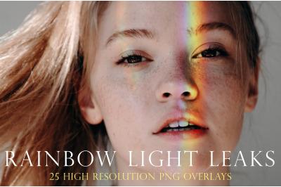 Rainbow portrait light leak overlays