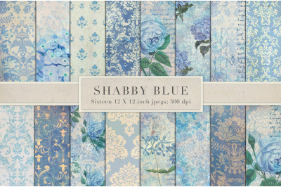 Shabby chic blue vintage paper