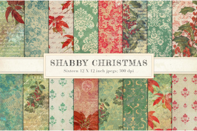 Shabby chic vintage Christmas paper