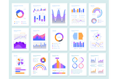 Modern infographic vector templates set for business analysis. Financi